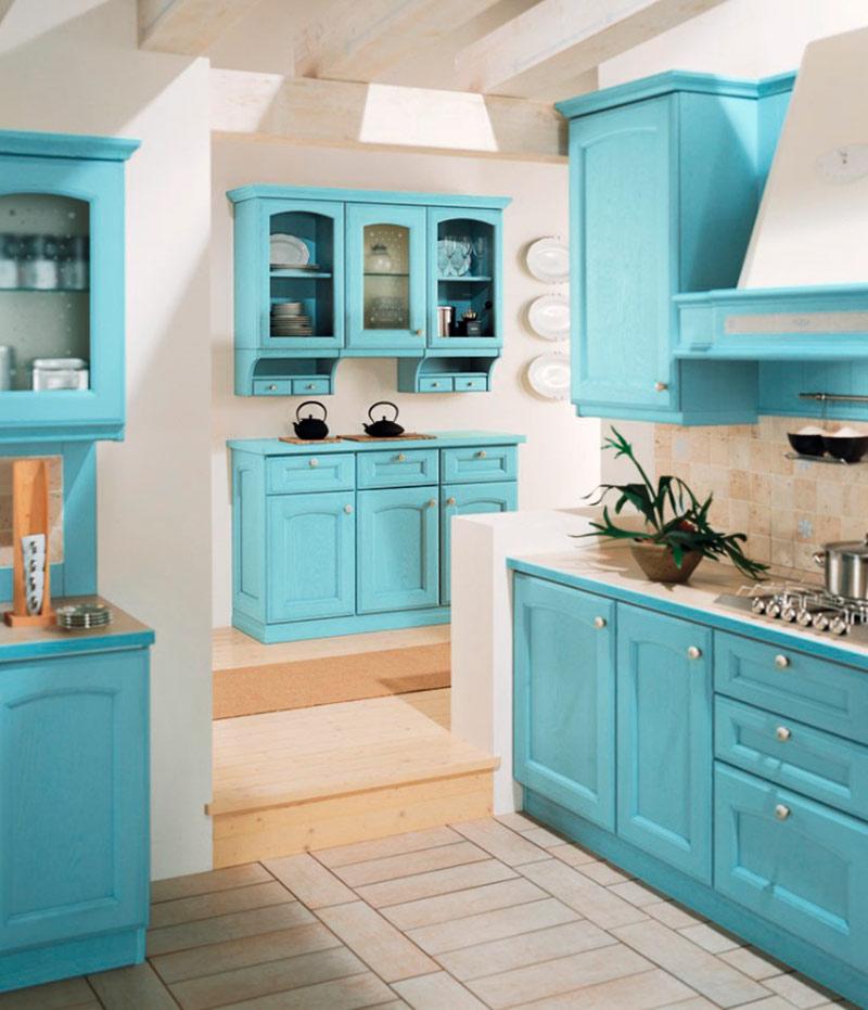 Cocinas rústicas azules